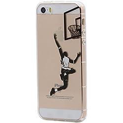 iPhone 5 / 5S / SE Funda Carcasa , Keyihan Invierno Cuento de hadas Tema de dibujos animados Transparente Cubierta suave del gel de TPU para Apple iPhone 5/5S/SE (Jugar baloncesto)