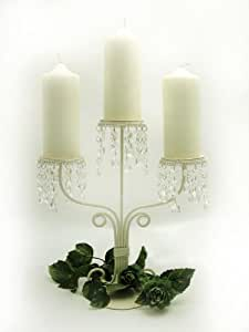 Country Baskets Three Arm Candelabra with Acrylic Crystal Droplets, Cream