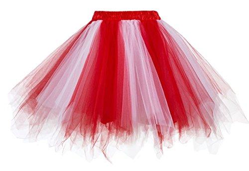 Comall Damen Mädchen Kurz Tutu Unterkleid Rock Petticoat Unterrock Kleid Tüll Rot ()