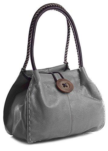 Big Handbag Shop, Borsa a spalla donna One Grigio (Medium Grey)