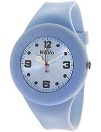 NuVo - NU13H22 - Montre Mixte détachable du bracelet  - Cadran Bleu - Bracelet Silicone Bleu changeable