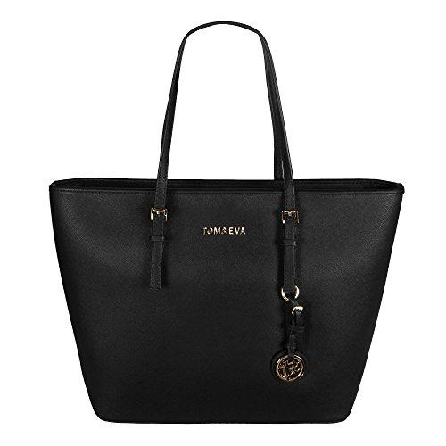 Tom & Eva Damen Handtasche 6228F TE-Jet Set Travel Bag Tasche Schwarz Gold (Schwarze Tasche Lange)
