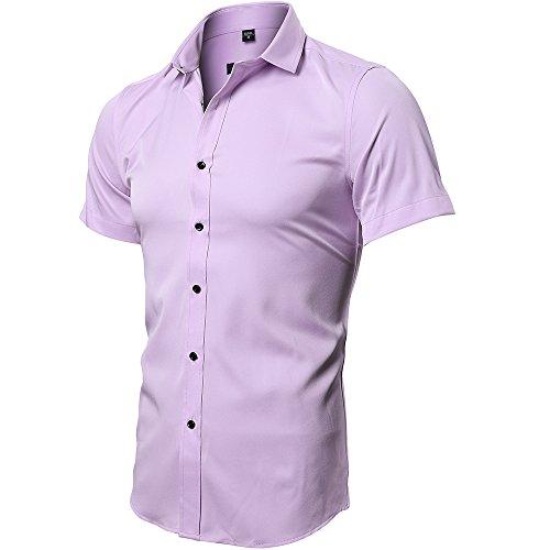 INFLATION Herren Hemd aus Bambusfaser umweltfreudlich Elastisch Slim Fit für Freizeit Business Hochzeit Reine Farbe Hemd Kurzarm Herren-Hemd Rosa DE 2XL (Etikette 44)