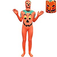 Thombase Children Pumpkin Costume Youth Christmas Jack Skellington Fancy Dress Up Cosplay Party Clothes (Pumkin, 120)