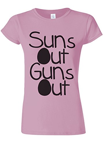 Suns Out Guns Out Summer Gym Novelty Light Pink Women Damen Top T-shirt Verschiedene Farben-XXL (Light Gun Sun)