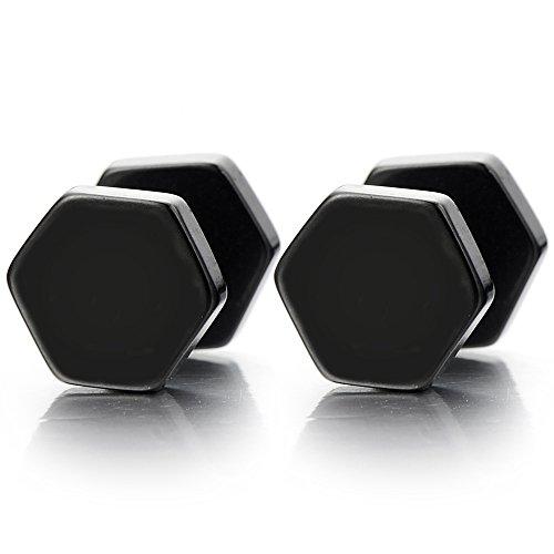 4-8MM Noir Hexagonale Boucles d'oreilles Homme Femmes - Jauge d'oreille Faux Cheater Fake - Acier Inoxydable - 1 Paire