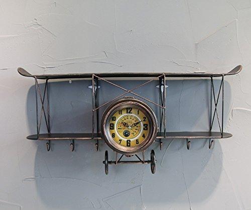 Bronze Große Wand (Flashing- Amerikanische Retro-Art-Flugzeug-Form-Eisen-Wand-Wanduhr, Kreativer Haken Oben Schwimmende Regal-Wand-Dekoration ( Farbe : Bronze , größe : 68*17.5*32cm ))