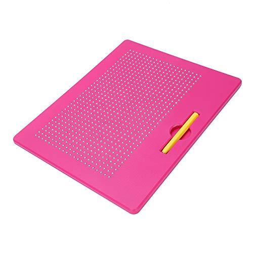 REFURBISHHOUSE Magnetische Zaubermaltafel Zeichentafel mit Kugeln und Magnetischem Stift für M?dchen und Jungen - Rose rot,L
