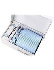 Coffret Cadeau Montréal - Cravate bleu ciel à fines rayures blanches satinées, boutons de manchette, pince à cravate, pochette de costume