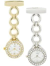 SEWOR elegancia diamond para mujer colgante reloj de bolsillo dorado y plateado Juego de con marca de piel caja de regalo