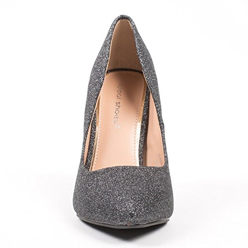 Ideal Shoes – Escarpins glitterate Zaira Nero