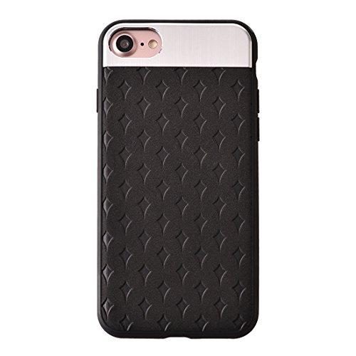 IPhone 7 Fall Blumen-Beschaffenheit Metall + PU-lederner Oberflächenschutz-Fall-rückseitige Abdeckung für iPhone 7 Fall by diebelleu ( Color : Coffee ) Black