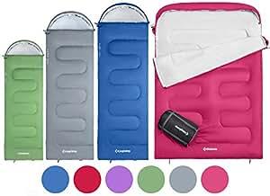 KingCamp Oasis Sac de Couchage 3 Saisons 4 Tailles Disponibles (Enfant, Adulte, Extra-Grand et Extra-Grand Double) en 6 Couleurs