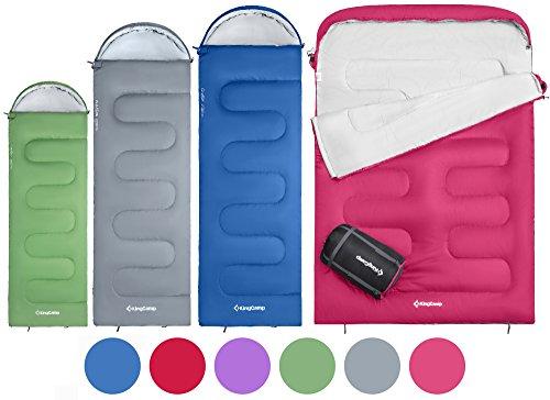 KingCamp OASIS 3-Jahreszeiten-Schlafsack, 4 Beutelgrößen verfügbar - Kinder, Erwachsene, Extragroß und Extragroß-Doppel in 6 verschiedenen Farben zum Zelten, Wandern, fürs Trekking und im Freien. Schlafsack mit linkem Reißverschluss und Schlafsack mit rechtem Reißverschluss können miteinander verbunden werden. (Erwachsene 220 x 75cm, Blau R)