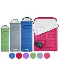 KingCamp OASIS Saco de dormir de 3 estaciones disponible en 4 tallas: niño, adulto, extra grande y extra grande doble en 6 colores diferentes para acampada, excursionismo, senderismo y actividades al aire libre. El saco de dormir de cremallera izquierda y el de cremallera derecha se pueden unir