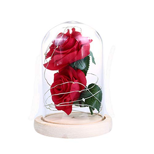 Rosa Rose Dome (FunPa Konservierte Rose Dome Ornament Fashion Fake Rose 20 LED leuchten Schreibtisch Ornament Tisch Ornament Romantisch Geschenk Weihnachten Dekoration)