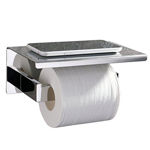 Ubeegol Toilettenpapierhalter Edelstahl Mit Ablage Bohren Wandhalter Chrom  Klorollenhalter Klopapierhalter 2 In 1 WC Rollenhalter Papierhalter