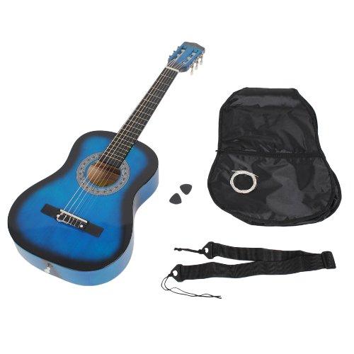 Chitarra classica per bambini completa di accessori. Qualitá standard. In colore nero-azzurro. Grandezza 1/2 (6-9 anni)