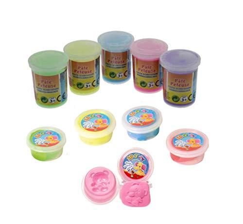 10 er Set- Magische Knete : 5 x Furzschleim / Pupsschleim UND 5 x Springknete / Hüpfknete für Kinder - der Scherzartikel Hit im Kindergeburtstag bzw. give away Mitgebsel oder Preis für Tombola