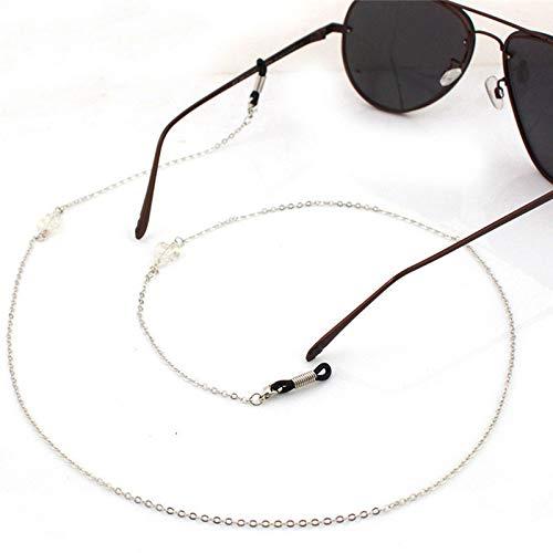 DFHNJIY Frauen Männer Sonnenbrillen Lanyard Strap Halskette Metall Glas Kristall Brillen Gläser Kette Schnur,Silver