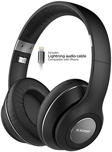 Auriculares Inalámbricos Bluetooth Sobre Oreja para iPhone con Conector Lightning (Certificado Apple MFi) con Aislamiento de Ruido y Micrófono (Confort de Momory Foam con Batería Extendida) Negro