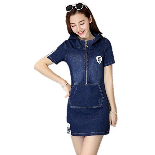 SHISHANG Europäischer Denimkleid Stil verwaschene Jeans mit Kapuze langen Satzhüfte Kleid Kleid Runde Sommer Denim Baumwolle Frauen blau Blue