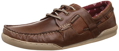 Redtape Men's Brown Leather Boat Shoes - 7 UK