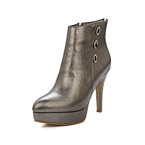 Odomolor Damen Eingelegt Hoher Absatz Spitz Zehe Mikrofaser Reißverschluss Stiefel Silber