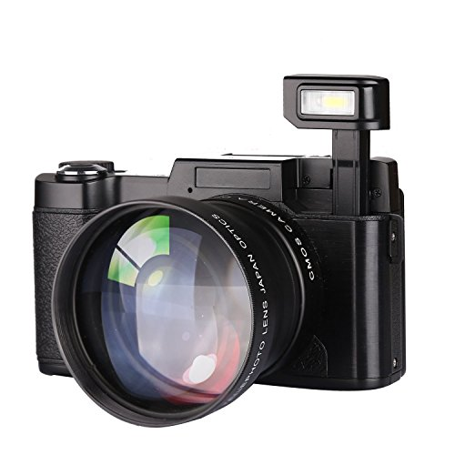 GordVEC Digitalkamera Camcorder Full HD 1080p 22.0 MP  Videokamera 3.0 Zoll Drehbaren Display Kamera kompaktkamera (Schwarz)