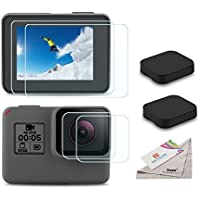 [6pcs] Deyard Screen Protector for GoPro Hero (2018)/Hero 5/Hero 6, Ultra Clear Tempered Glass Screen Protector + Lens Protector + Lens Cap Cover Accessories