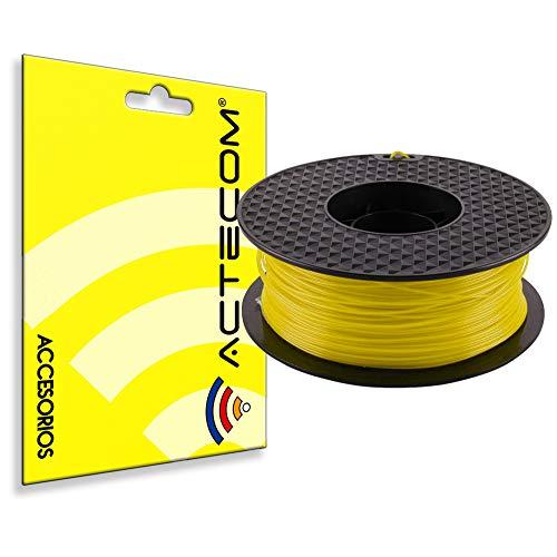 ACTECOM FILAMENTO PLA Impresora 3D Impresion Bobina 1,75MM 1KG Amarillo Anet, ANYCUBIC, Prusa, Geetech, Athorbot, Creality, Hictop