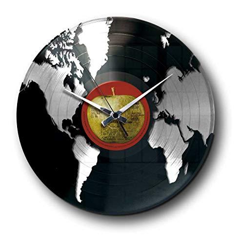 Wanduhr aus Vinyl Schallplattenuhr mit Weltmotiv / Globus Motiv Upcycling Design Uhr Wand-Deko Vintage-Uhr Retro-Uhr MADE IN ITALY - SCHNELLE LIEFERUNG 24 UHR! DISCOCLOCK - DD014SB - WORLD