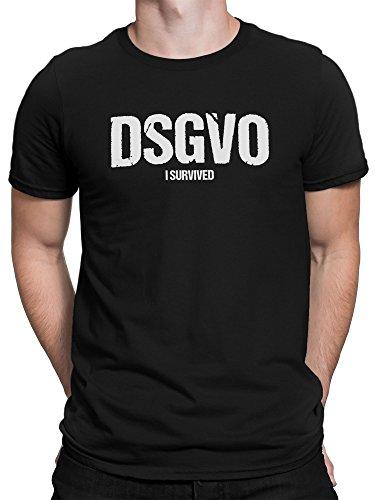 vanVerden Herren Fun T-Shirt EU DSGVO I Survived Europa Datenschutz Grundverodnung Plus Geschenkkarte, Größe:L, Farbe:Schwarz