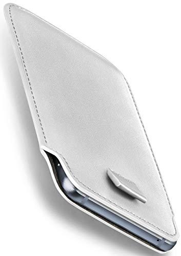 moex Oppo R5 | Hülle Weiß Sleeve Slide Cover Ultra-Slim Schutzhülle Dünn Handyhülle für Oppo R5 Case Full Body Handytasche Kunst-Leder Tasche