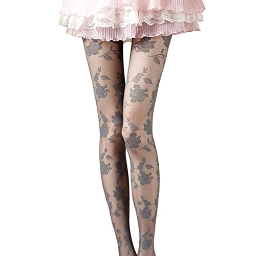 SING Sexy Rose Drucken Spitze Pantyhose Frauen Elegant Stretchy Strumpfhosen Reizvoller Stockings Tights Leggings Mädchen Mode Slim Fit Elastische Strümp Overknee Hosen (Grau) (Gemusterte Feinstrumpfhose)