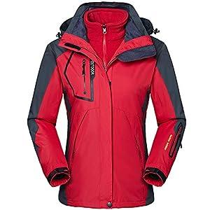 Zilee Frau Skijacke 3 in 1Atmungsaktiv Warme Kapuzen Kleidung Winddichte Anzug Wasserdicht SchneemantelVliesInner fürSkifahren Laufen Bergsteigen Reisen