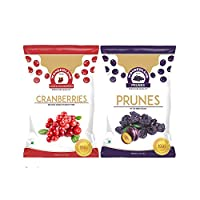 Wonderland Foods Dried Fruits Combo of Prunes 200g + Whole Cranberry 200g