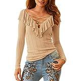 IMJONO Damen Bluse Elegant Chiffon V-Ausschnitt Langarm Casual Oberteil Lose Langarmshirt V-Ausschnitt Vintage Tunika Hemd T-Shirt(EU-40/CN-L,Khaki)