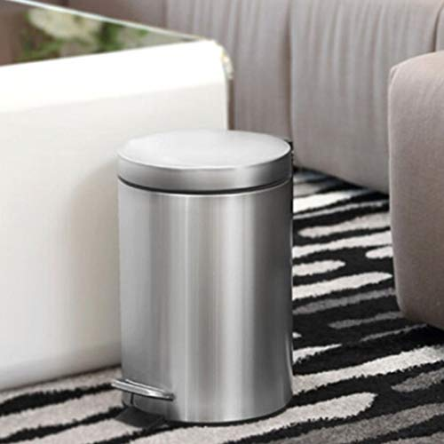 Garten Art Home Hotel Büro 12L Mode Runde Edelstahl bedeckt Fuß Mülleimer, Größe: 41 * 27 * 27 cm Praktisch
