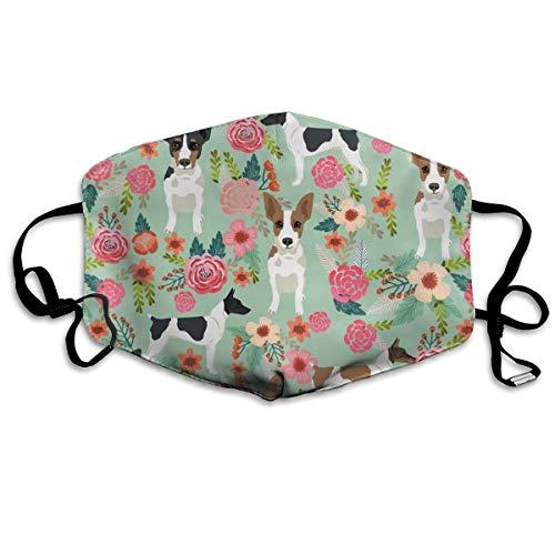 Anti-Staub-Maske für Ratten, Terrier, Blumenmuster, waschbar, wiederverwendbar, Minzgrün