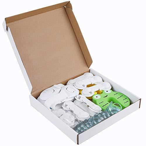 Rovtop 36Pcs Kit de sécurité pour enfants avec 6 verrous de sécurité pour enfants, 6 verrous de tiroirs ajustables, 12 Protege Coin, 2 Bloc porte Anti Pincement 10 Caches prises