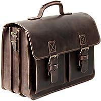 Made in Germany Aktentasche - Lehrertasche XXL DELHI aus starkem Leder mit 3 Fächern inkl. Bio-Lederpflege von THIELEMANN