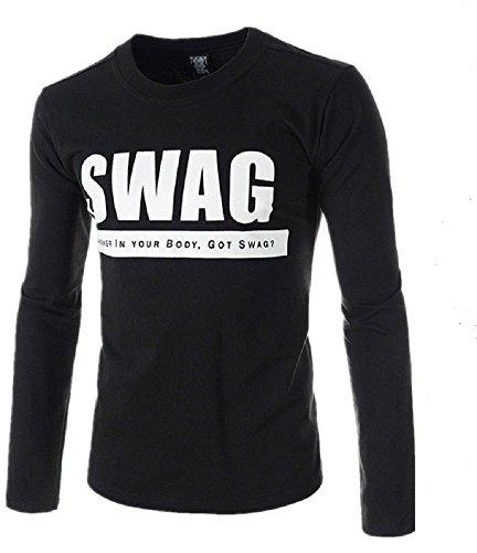 BOMOVO Herren O-Neck Crew Sport Top Shirt Schwarz