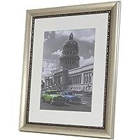 BD ART 30 x 40 cm, Marco de Fotos de Estilo Clásico de Madera Solida con Paspartu 21 x 30 cm, Plata Antigua