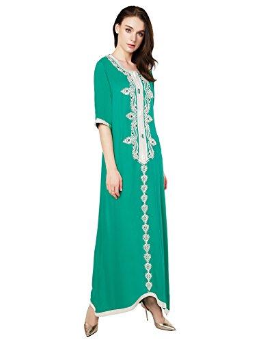 Muslim Abaya Dubai kleider für Frauen islamischen Kleid Islamische Kleidung muslimische Kaftan Rayon Gewand Jalabiya Grün