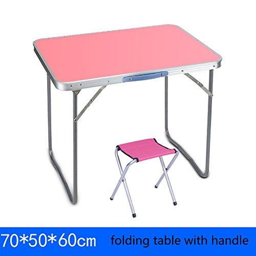 YXX Table et chaises Se Pliantes carrées extérieures avec la poignée pour Camper Les Petites Tables Se Pliantes en Bois de Bureau d'ordinateur (Couleur : Table+1 stools, Taille : 70 * 50 * 60cm)