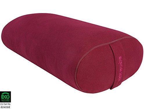 Bolster Ovale 100 % Coton Bio 60 cm x 15 cm x 30 cm - Bordeaux