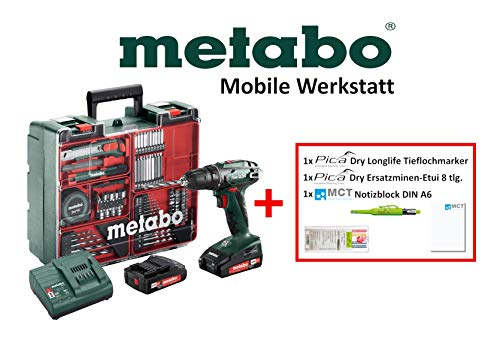 Metabo Mobile Werkstatt Edition M - Akkuschrauber Set (2x Akku 18V 2,0Ah, Ladegerät, Zubehör) + Pica Marker, Ersatzminen, DIN A6 Block - 602207880 M Li-ionen-mobile