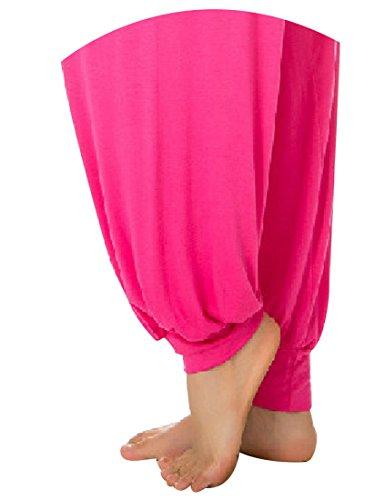 Aivtalk-Sarouels Pantalon Yoga Bouffant Modal pour Femme -Bloomer Elastique Extensible - Harem Pants Danse Pilates Sport - 14 Couleur Optique - S-XL Magenta