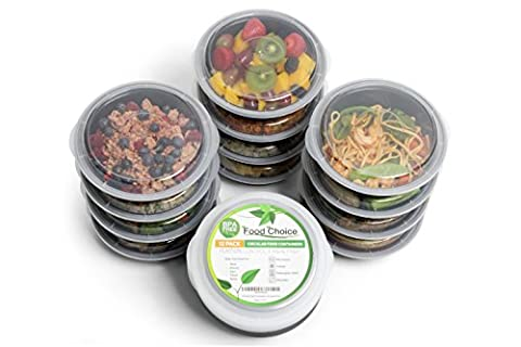 Meal Prep Food Containers with Lids for Lunch , Portion Control and Food Storage - Stackable , BPA free , 1 Compartment , Circular , Freezer , Dishwasher and Microwave Safe - For Adults and Children (12